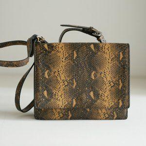 Zara Snake Skin Print Square Crossbody Bag
